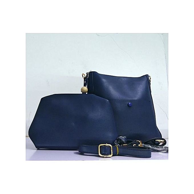 42d68517bb81 Buy Generic 2 in 1 Ladies Leather Handbag Dark Blue   Best Price ...