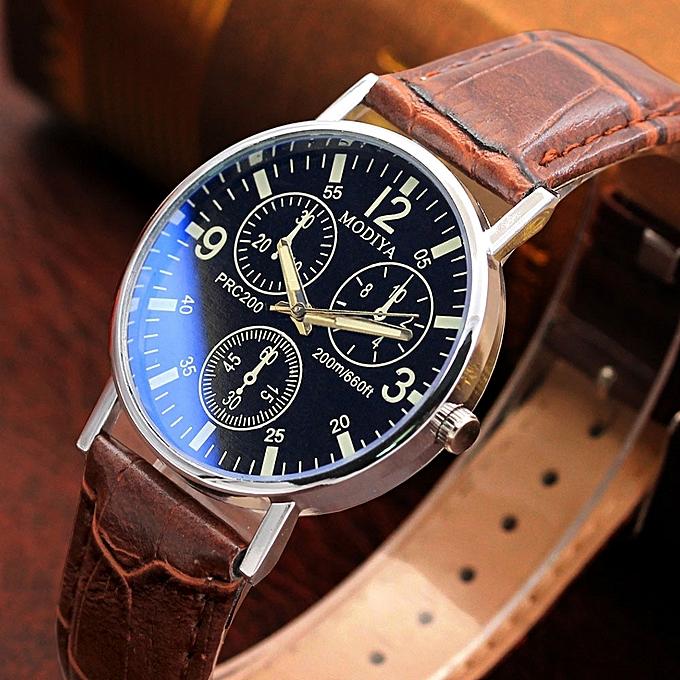 6b489dc9e04 fashion Africashop Watch Six Pin Watches Quartz Men s Watch Blue Glass Belt  Watch Men-Brown