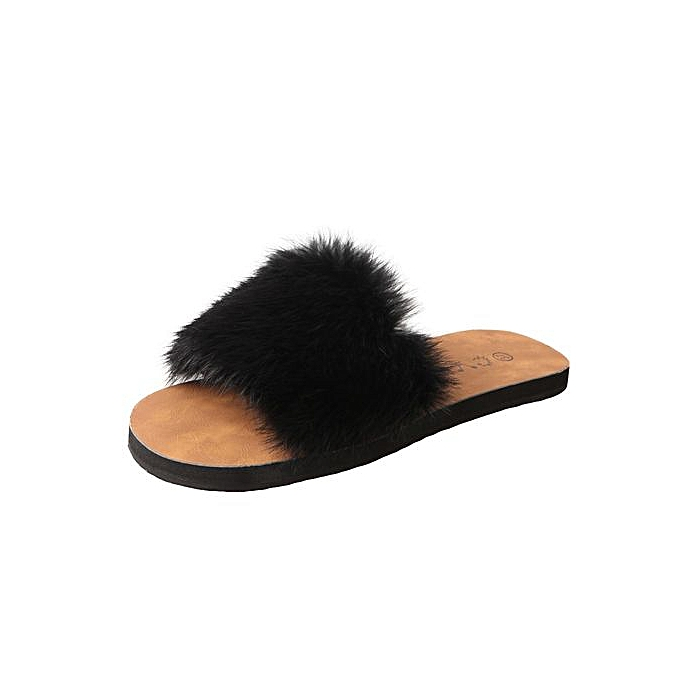 01480fdaffd0 Jiahsyc Store Summer Womens Ladies Slip On Sliders Fluffy Faux Fur Flat  Slipper Sandal-Black