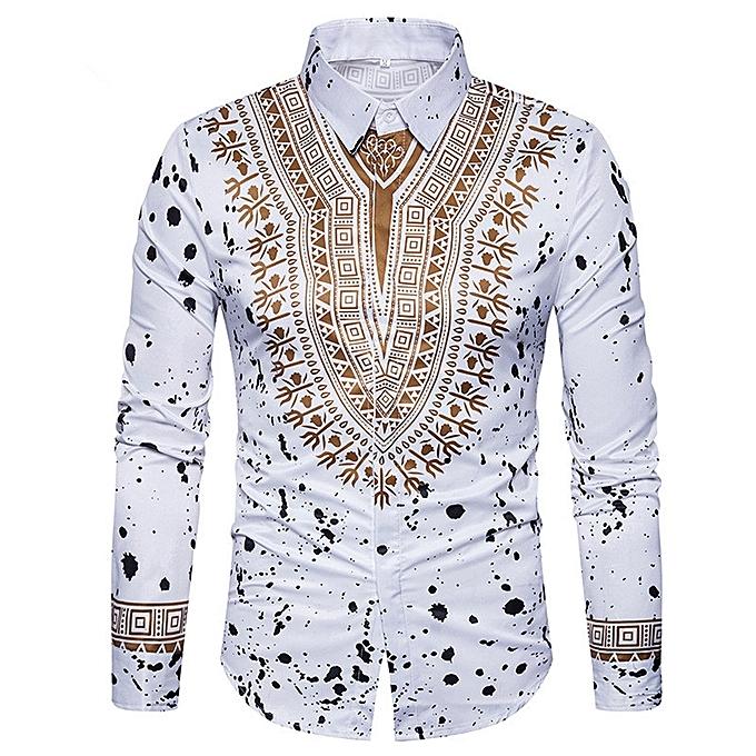 Men's Casual Print Shirts Dashiki 3D Printing Ethnic Geometric Splatter Paint Long Sleeve Shirt
