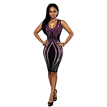 Womens African Print V-neck A-line Bodycon Dress Purple