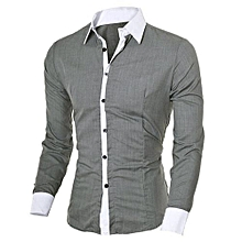 Fashion Personality Men's Casual Slim Long-sleeved Shirt Top Blouse - Gray   L
