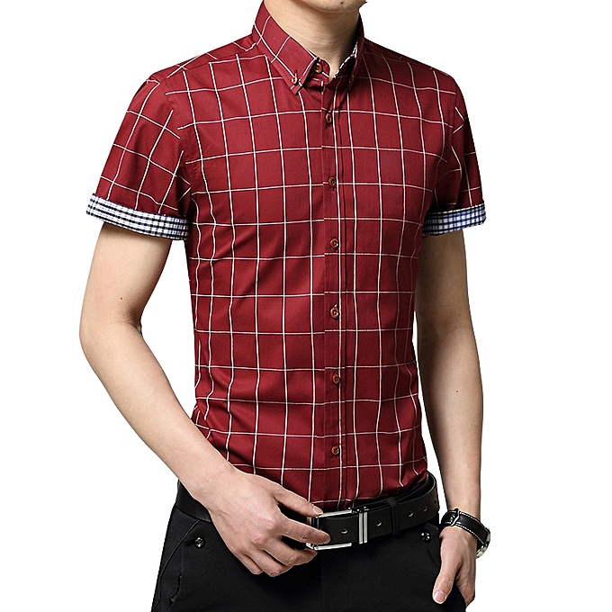 b5843bf3d3da ... 2019 Men s Short Sleeve Shirt Summer Business Formal Casual Plaid  Checked Top T Shirts-Dark