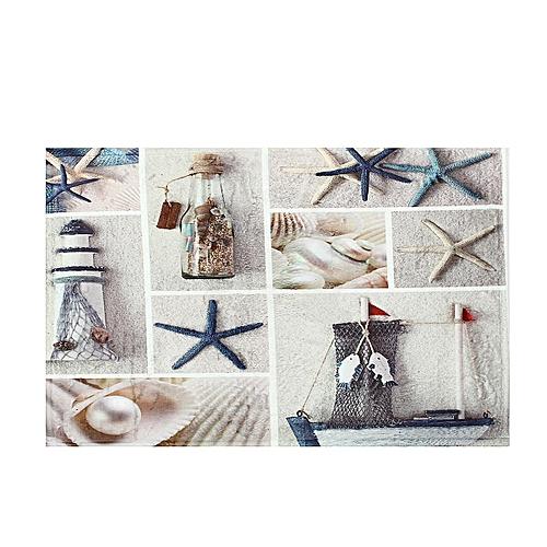 Summer Seashells Beach Shower Curtain Set Fabric Bathroom Curtains Accessories Mat