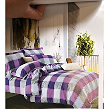 Duvet Cover 100% Purple and White Checked