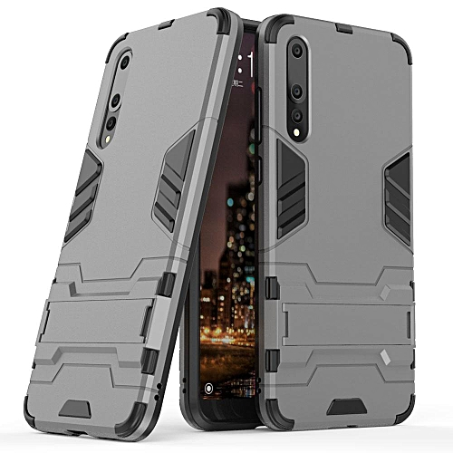 newest 3c88b 5970c Case For Huawei P20 Pro Dual Layer Tank Hybrid Armor Case With Kickstand  Shockproof Impact Protective Cover For Huawei P20 Pro (Grey)