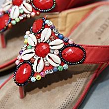 Generic Women Flat Shoes Bead Bohemia Leisure Lady Slippe Sandals Peep-Toe Outdoor Shoes A1