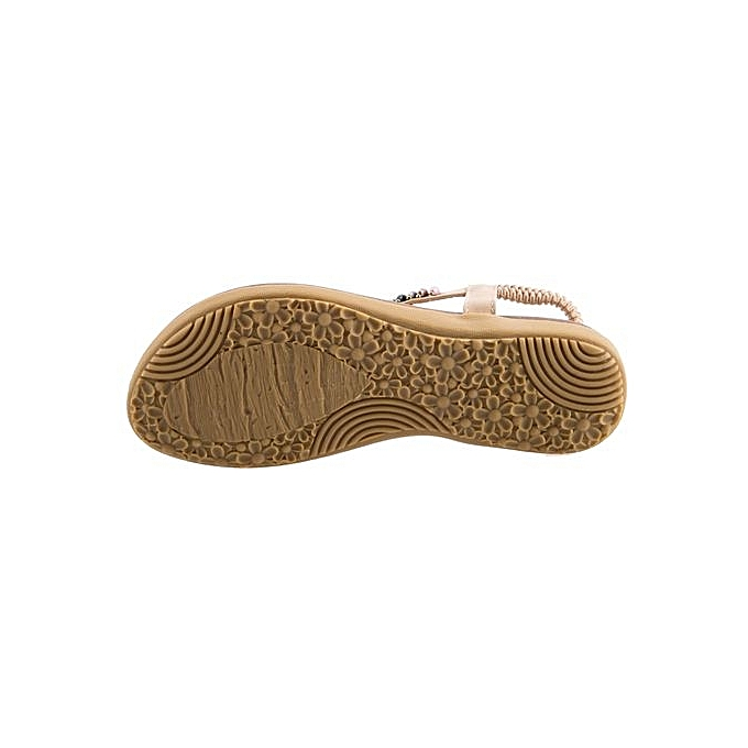 7ea74e40a647d0 ... Sandymarket SIKETU Ladies Bohemia Beads Elastic Band Beach Flip-flop  Sandals-APRICOT (UK ...
