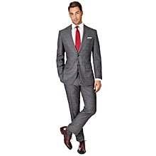 Grey Checked Slim Fit Wool 2 Piece Suit