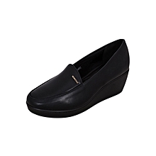Black Women's Round Toe Wedge
