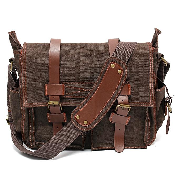 a7afe322f6dc Men s Vintage Canvas Leather Military Large Shoulder Messenger Bag Dark  Coffee