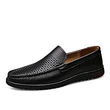 Mens Fashion Genuine Leather Loafers Hollow Shoes Soft Black