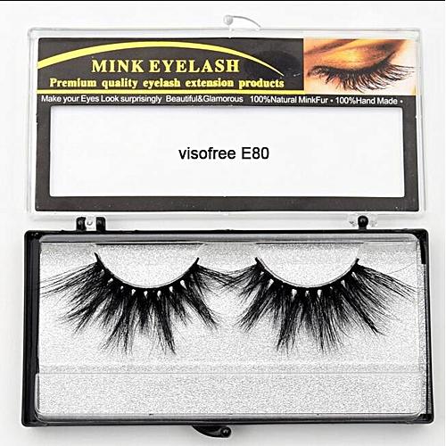 bf3fe040e4b Generic Eyelashes Mink Eyelashes Criss-cross Strands Cruelty Free High  Volume Mink Lashes Soft Dramatic Eye lashes E80 Makeup(visofree E80)
