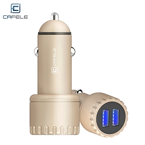 CAFELE Dual USB Luminous 5V 3.4A Quick Charging Car Charger GOLDEN