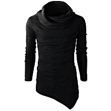 bluerdream-Men's Slim Fit Tuetleneck Long Sleeve Muscle Tee T-shirt Casual Tops Blouse- Black