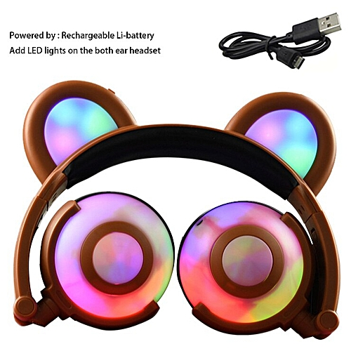 Foldable Flashing Glowing Bear Ear Headphones Gaming Headset Panda Cosplay  Earphone with LED light For PC Phones Girls Kids Game(Gold)
