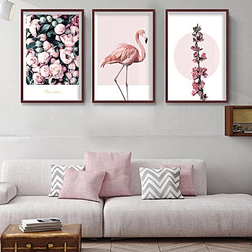 Generic Qukau 3pcs 40 60cm Wall Painting Picture Mural Flamingo