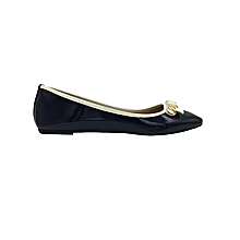 Navy Blue Women's Wet Look Doll Shoes.