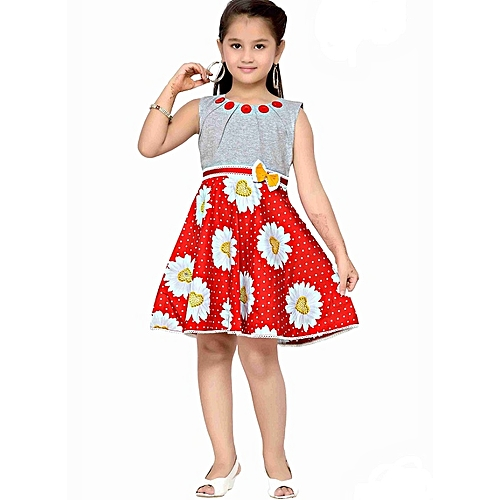 983ef6c6c201 Ceemee Sleeveless red sunflower dress with grey jersey bodice @ Best ...