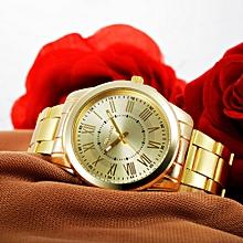 bluerdream-Fashion Man Women Crystal Stainless Steel Analog Quartz Wrist Watch-Gold