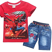 1-10 Yrs Boys' 2 Pieces Cotton Jeans Pant + T-shirts (Color:Red)