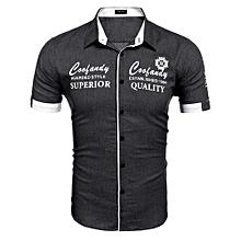 Men's Turn Down Collar Short Sleeve Letter Print Casual Denim Shirt ( Black )