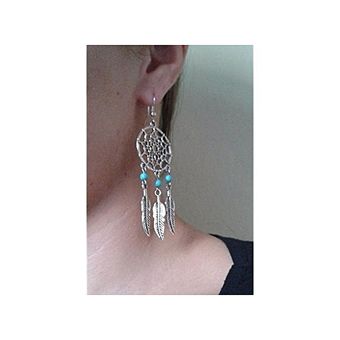Generic Dreamcatcher Earrings Alloy Feather Tel Mini Turquoise