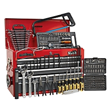 Topchest 9 Drawer with Ball Bearing Runners - Red/Grey & 204pc Tool Kit