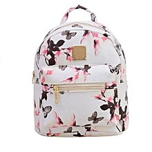 Women Backpack Fashion Causal Floral Printing Leather Bag White-White