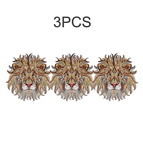 3 Pcs Iron-on Transfer Vinyl Cloth Patch Sticker Cool 3D Lion King Wolf  Stickers for Tops T-shirt Tote Curtain Household DIY Decoration