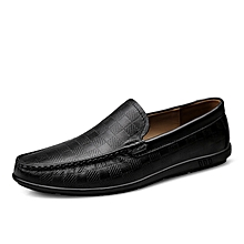 Mens Dress Genuine Leather Loafers Casual Flat Shoes Black