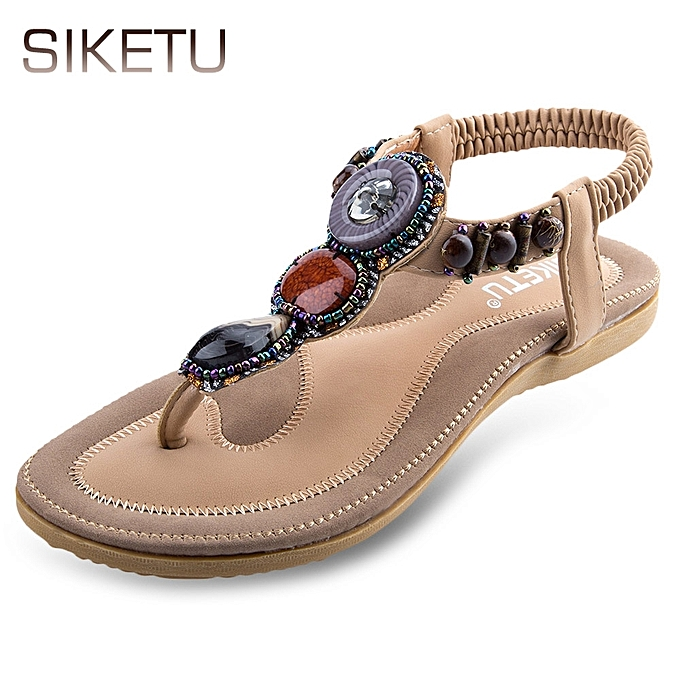 59ed02ec6b84 Siketu Ladies Slip On Beach Flip-flop Sandals-APRICOT   Best Price ...
