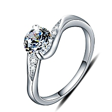 Simple Round CZ 925 Sterling Silver Ring Ring Size US 7