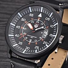 Blicool Wrist Watch Military PU Leather Waterproof Date Quartz Analog Army Men's Quartz Wrist Watches-black