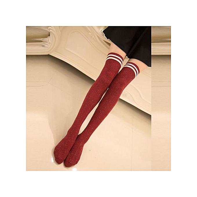 03e58f25b Women High Striped Color Point Over Knee Long Socks Stockings Thigh Socks RD
