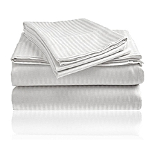 4Pcs – Fitted Bed Sheets Set - 3 x 6 – White Stripped