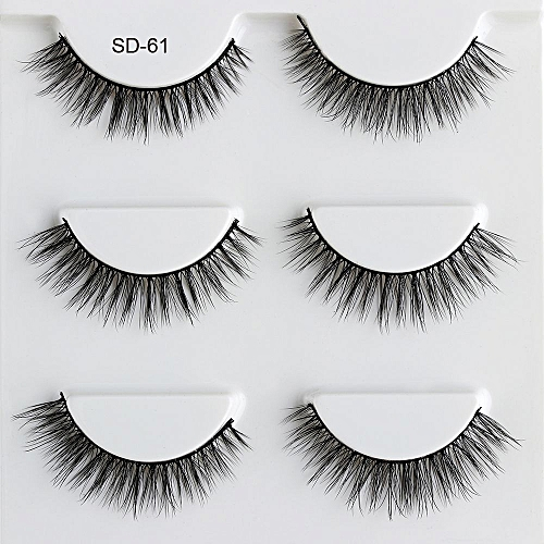 f8724e8e506 Generic 3 Pairs Natural Cross False Eyelashes Beauty Make up Thick  Voluminous Messy Style Eye Lashes Extension Makeup Tool maquiagem(Clear)