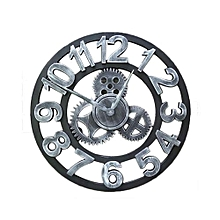 Vintage Gear Metal Wall Clock - Silver