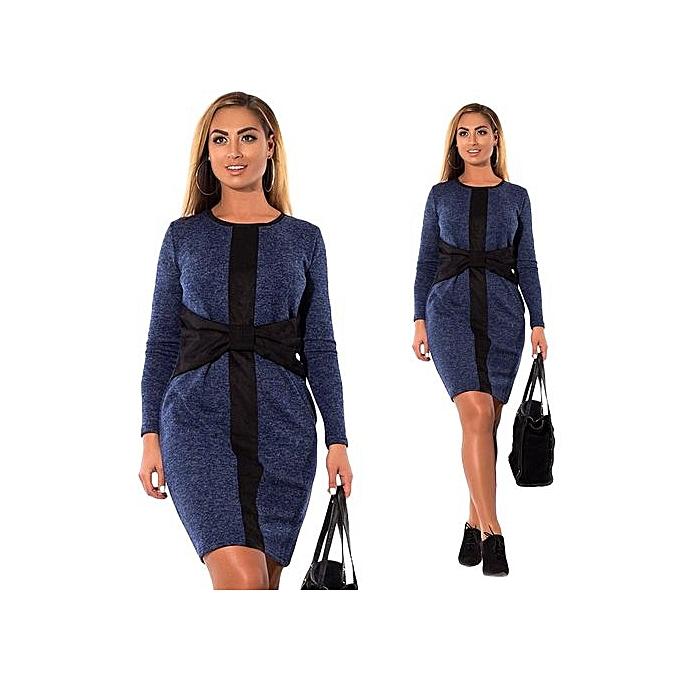 Buy Fashion 5xl 6xl Plus Size Women Tight Dress Casual O Neck Long