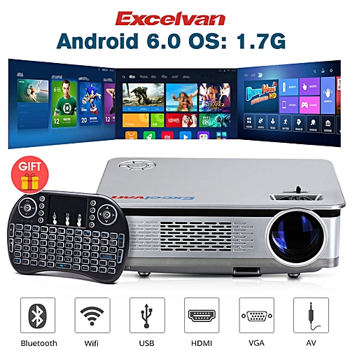 """Home Projector Android 6 0 1080P 5 8"""" LCD 3200lm EU - Gray"""