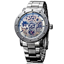 IK Coloring Casual Watch 2016 Men Men's Allochroic Glass Skeleton Dial Auto Mechanical Wristwatch With Box(White)