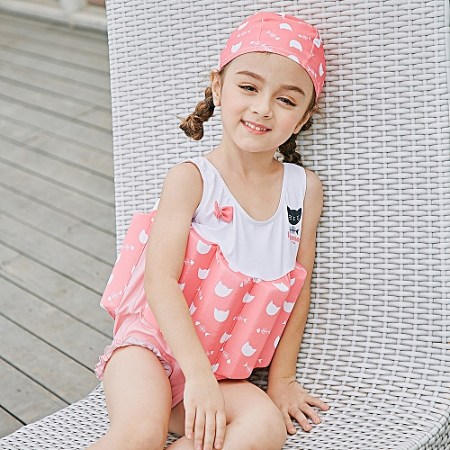d583e72f571be Generic Girl One-Piece Float Swimsuit+Cap+Arm Ring Stylish Cute Swimwear  With Removable Buoyancy Perfect for Kid Learn to Swim Pink 120cm