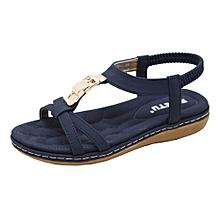 Generic Fashion Women Flat Shoes Bohemia Lady Girls Metal Buckle Sandals Outdoor Shoes A1