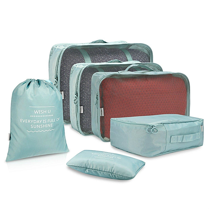 b4572cc5f273 6 Set Packing Cubes, Travel Luggage Organizers with Laundry Bag (Light blue)