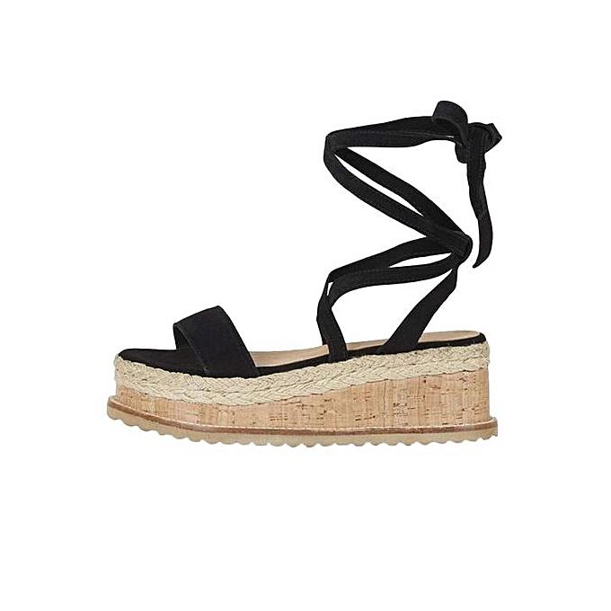 5397fd858ec5 ... Jiahsyc Store Ladies Women Roman Shoes Platform Woven Thick-Bottom  Waterproof Wedge Sandals -Black ...