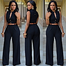 New Summer Europe and America Fashion Women Jumpsuits Office Lady Single-breasted High Elasticity Straight Rompers-black