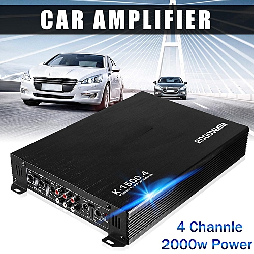 2000 Watt 4 Channel 12V Car Audio Power Amplifier Amp Aluminum Alloy Black  New