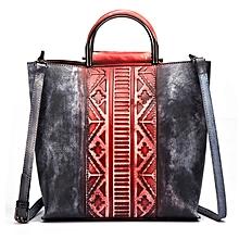 Brenice Women Splicing Handmade Tote Handbag Retro Cowhide Shoulder Crossbody Bag