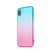 Dual-Color Gradient Shockproof Soft Phone Case Cover for iPhone X 7 8 Plus 6S-Green + Pink