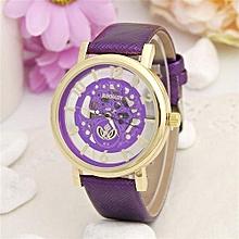 Leather Watch Women Dress Watches Men Luxury Brand Hollow Skeleton Watch(Purple)